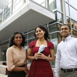 Cambridge, Massachusetts -- 10/13/2015-- Novopyxis Founders Madhavi Gavini, Rathi Srinivas and Raja Srinivas pose for a portrait with a device they've developed that sprays drugs such as antibiotics or painkillers on the skin so that larger molecules penetrate the skin in Cambridge, Massachusetts October 13, 2015.  Jessica Rinaldi/Globe Staff Topic: 15STATKendall_pic Reporter:
