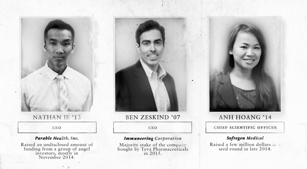 Alumni of Vicki Sato's Harvard Business School course, listed here by the year they took the class, who have each gone on to become co-founders and executives at life sciences startups.