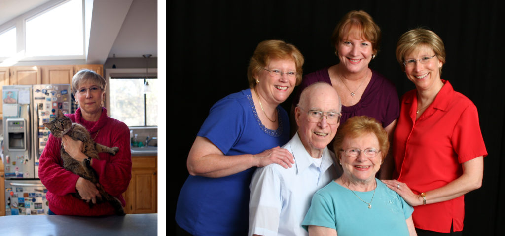 Left: Phyllis Merchant in her home in Ashland, Mass. Right: Phyllis Merchant, far right, in a family portrait with sisters Maureen Kynoch, far left, and Patti Bowen, and parents Donald and Muriel Merchant. The family photograph was taken in the summer of 2011, after Patti and her father were diagnosed with cancer.
