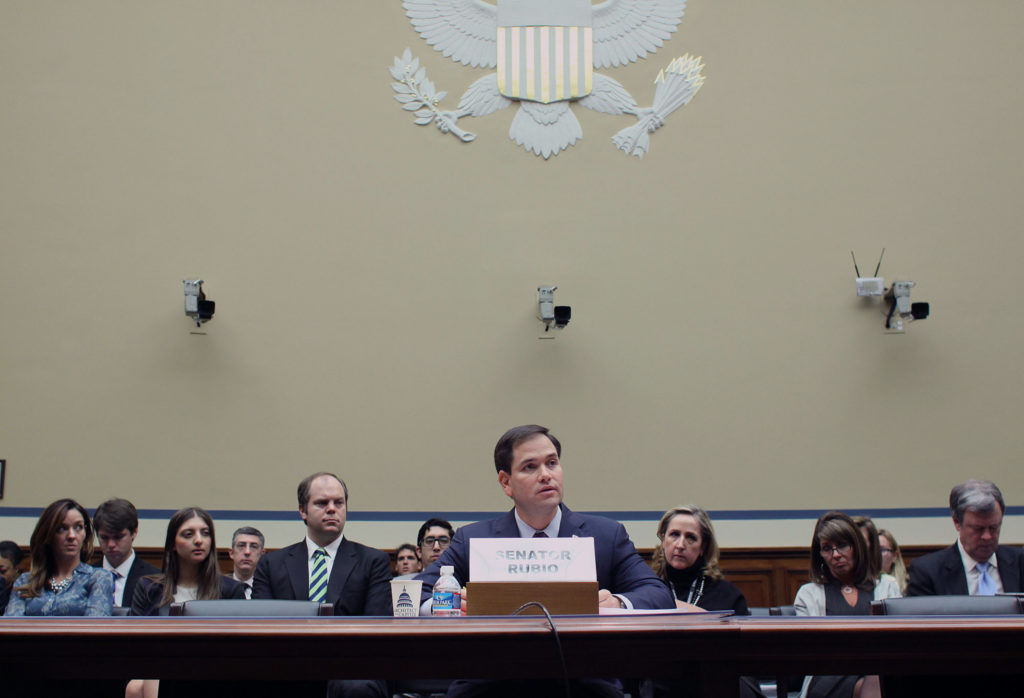 "Sen. Marco Rubio, R-Fla. testifies on Capitol Hill in Washington, Wednesday, Feb. 5, 2014, before the House Committee on Oversight and Government Reform hearing entitled: ""ObamaCare: Why the Need for an Insurance Company Bailout? (AP Photo/Lauren Victoria Burke)"