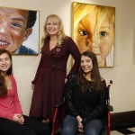 Boston, Massachusetts -- 11/25/2015- Patricia Weltin, (C) the organizer of Beyond the Diagnosis art exhibit poses for a portrait with her two daughters Olivia, 19, (R) and Hana, 16,  inside Gordon Hall in Boston, Massachusetts November 25, 2015. Jessica Rinaldi/Globe Staff Topic: STATLongwood_Photo Reporter: