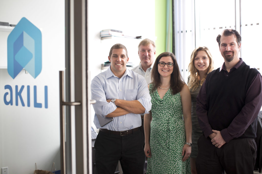 10/7/2015 - Boston, MA - Akili - This is most of the team at Akili. From left: Eddie Martucci, cq, CEO; Scott Kellogg, cq, VP; Ashely Mateus, cq, senior manager for product strategy; Isabella Slaby, cq, clinical coordinator; and Jeff Bower, cq, director of data science. Akili is a company that seeks to create clinically-validated cognitive therapeutics, assessments, and diagnostics that look and feel like high-quality video games.