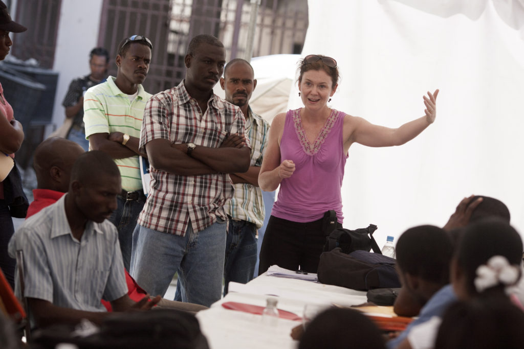 Dr. Louise Ivers leads a training in Port-Au-Prince, Haiti, February 2010.