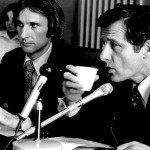 Sen. Bayh, right, at the Bayh-Dole hearings.