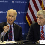 Vice President Joe Biden gestures while speaking, Friday Jan. 15, 2016, as Dr. Francis Collins, right, listen during a roundtable discussion in the Abramson Cancer Center at the University of Pennsylvania in Philadelphia. (AP Photo/ Joseph Kaczmarek)