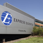 Express Scripts headquarters is seen Thursday, July 21, 2011, in Berkeley, Mo. Express Scripts and Medco Health Solutions, the largest U.S. pharmacy benefits management companies, said Thursday they will combine in a deal worth $29.1 billion in cash and stock. (AP Photo/Jeff Roberson)