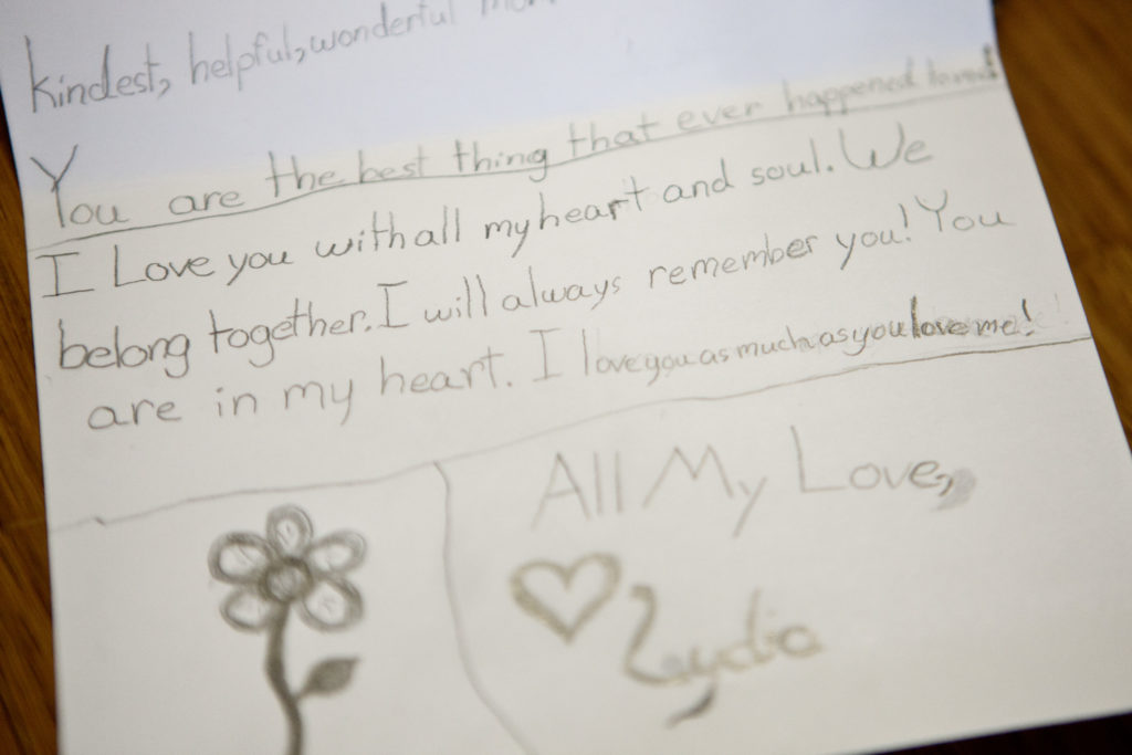 "A ""love note"" that Lydia Valdez wrote to her mother, Paula Skelley, 6 weeks before she died. Paula said she wrote her many notes in the various journals that she would draw in everyday while she was sick."