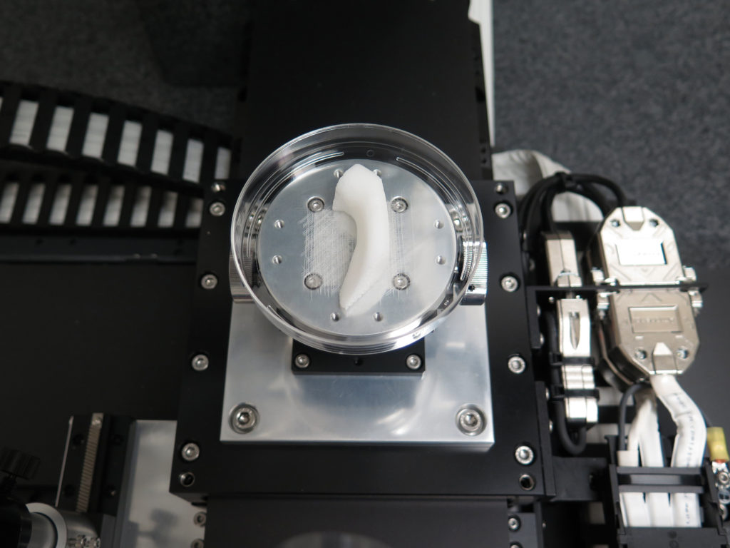The Wake Forest team's 3D printer at work fabricating a jaw bone structure.