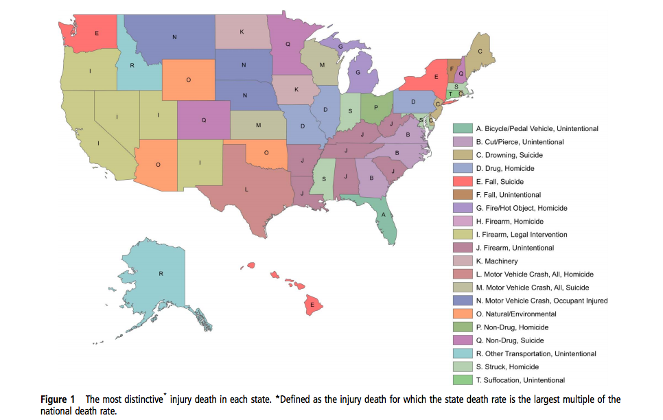 Most distinctive cause of death by state. (Heins, Crifasi)