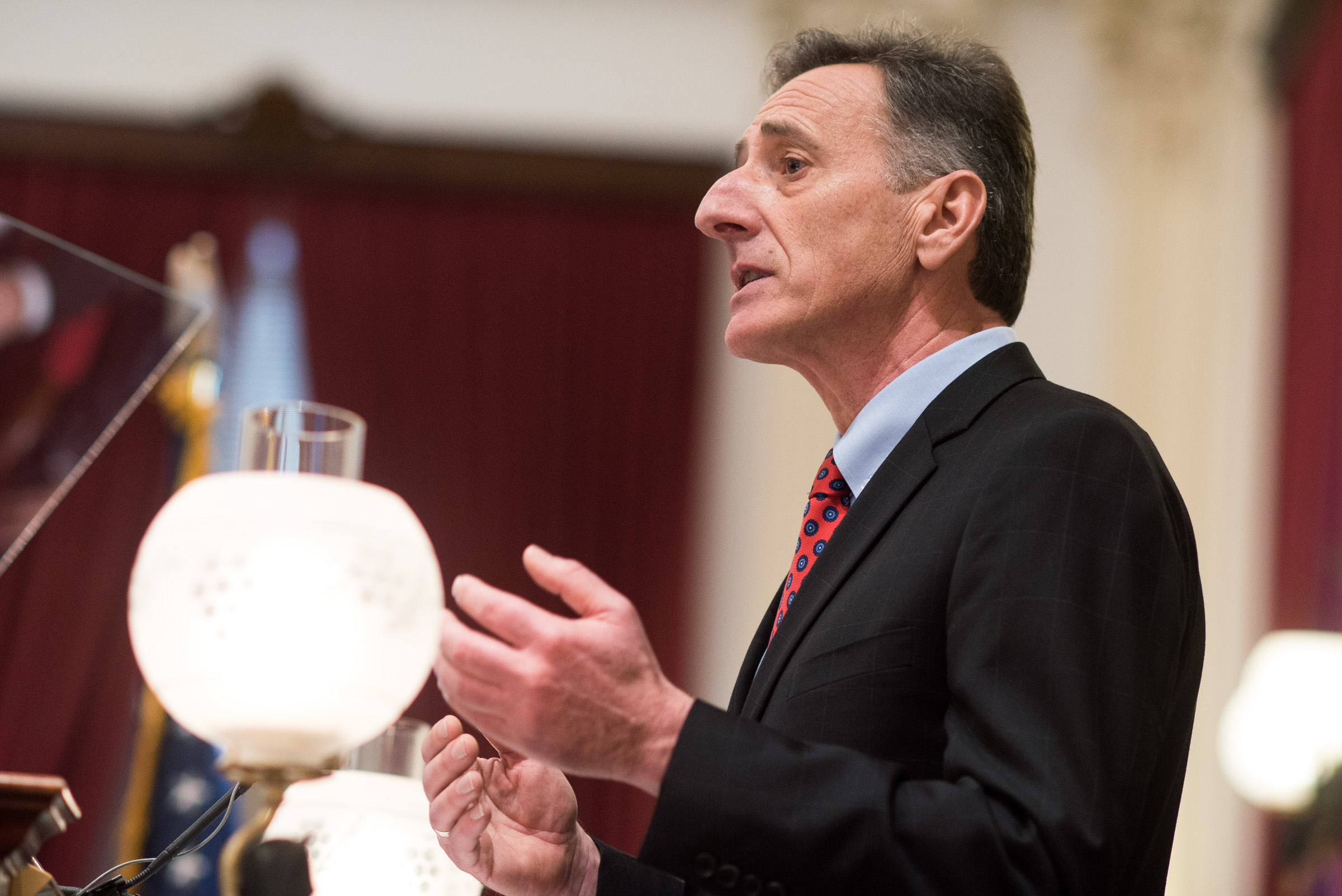 Vermont Gov. Peter Shumlin delivers his inauguration speech on Thursday, Jan. 8, 2015, at the Statehouse in Montpelier, Vt. (AP Photo/Andy Duback)