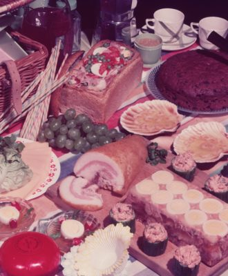 Vintage meat and cheese