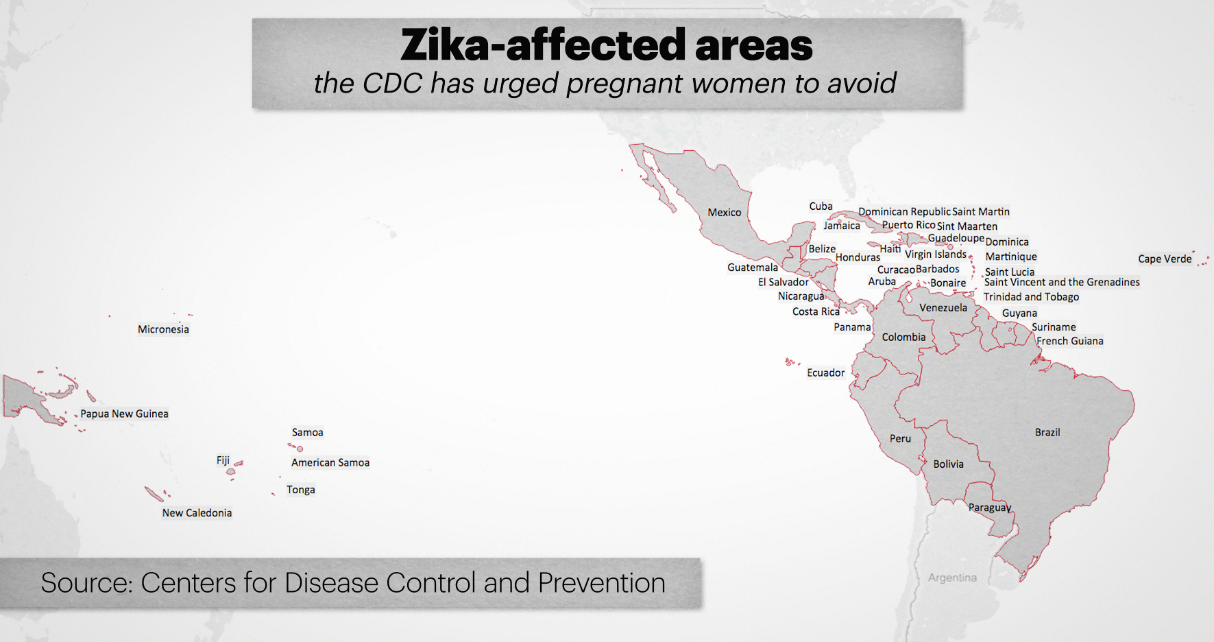 Map: Zika-affected countries CDC urges pregnant women avoid on