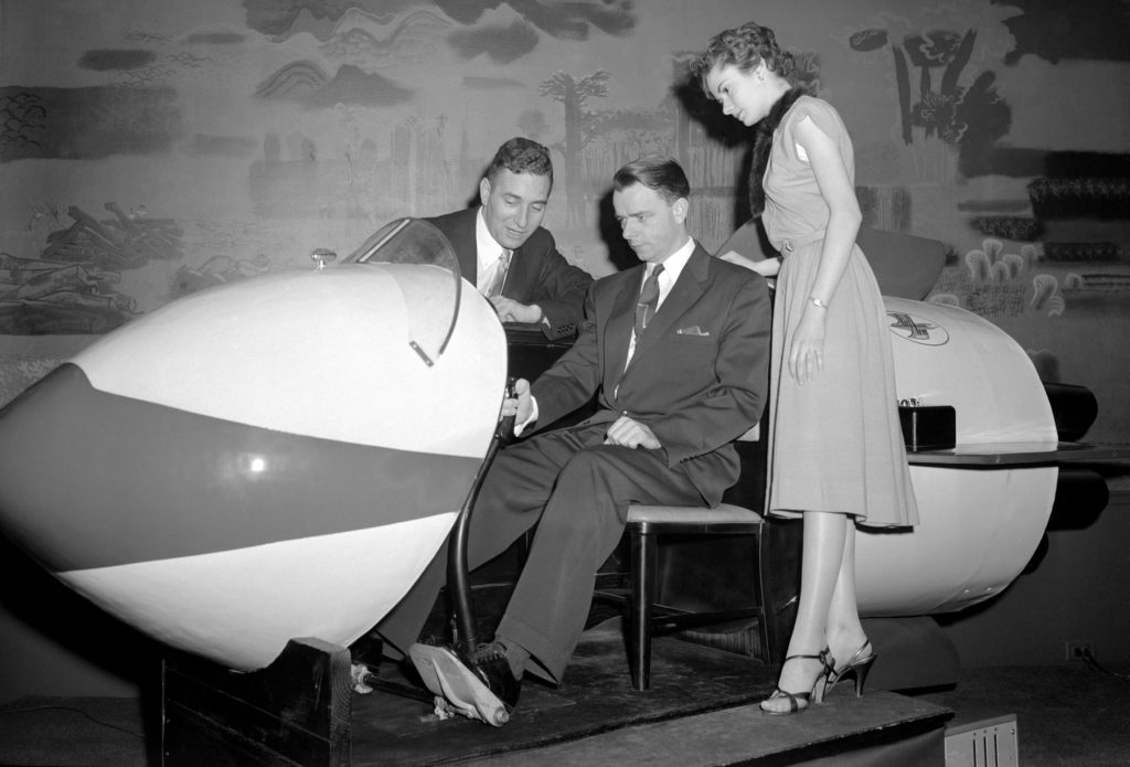 At the Science Talent Search when Westinghouse still ran the show in 1955, then Rep. Robert C. Byrd tried out a rocket ship demonstrator.