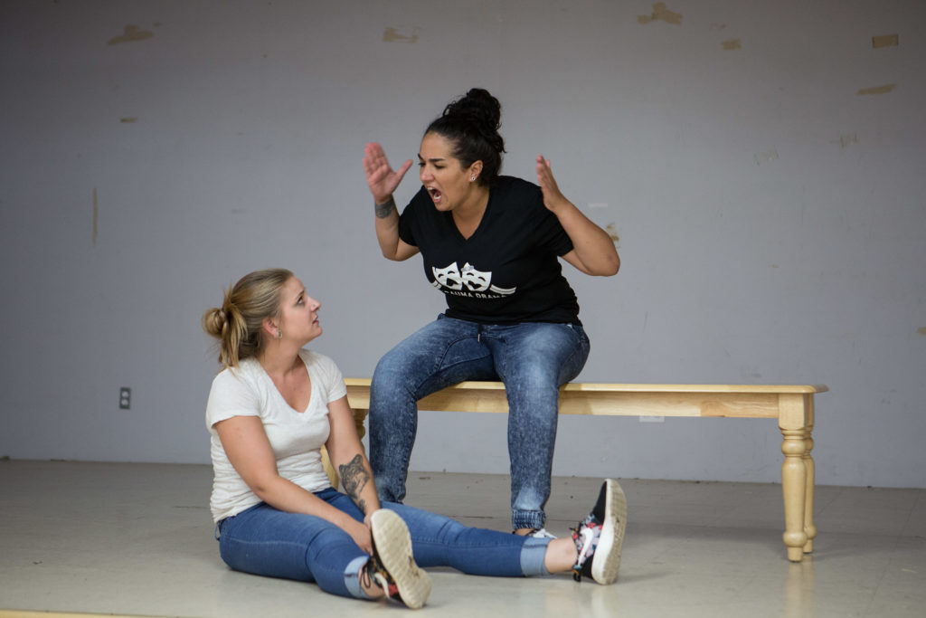 "Fall River, MA -- 08/01/16 -- Trauma Drama troupe members Madeline Panella (left) and Vanessa Medeiros rehearse an interactive, therapeutic theatre piece with the theme ""family neglect"", that they will be performing during next week's Trauma Drama session. (Kayana Szymczak for STAT)"