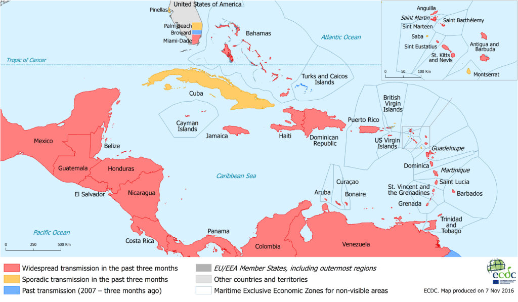 Carribean Zika Map