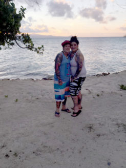 Holl and Robertson on their honeymoon in Fiji in October.