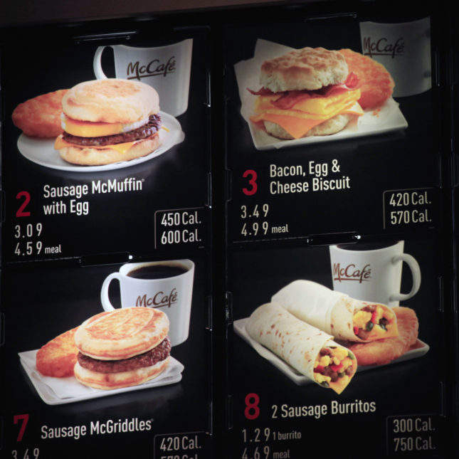 Items On The Breakfast Menu Including Calories Are Posted At A Mcdonald S In New York Restaurant And Grocery Chains Scrambling To Post Calorie Counts