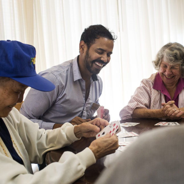 to learn to care for the elderly students move into a retirement home