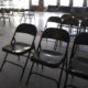 Empty folding chairs