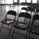 Empty folding chairs