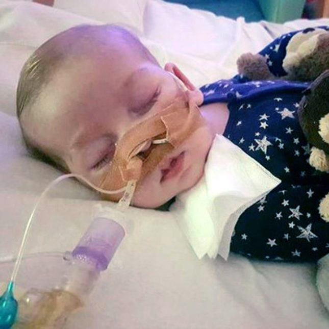 Charlie Gard Hostpital bed tubes