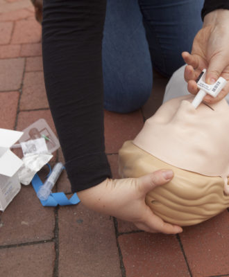 A dummy used to simulate treatment for overdoses, in Cambridge, Mass.