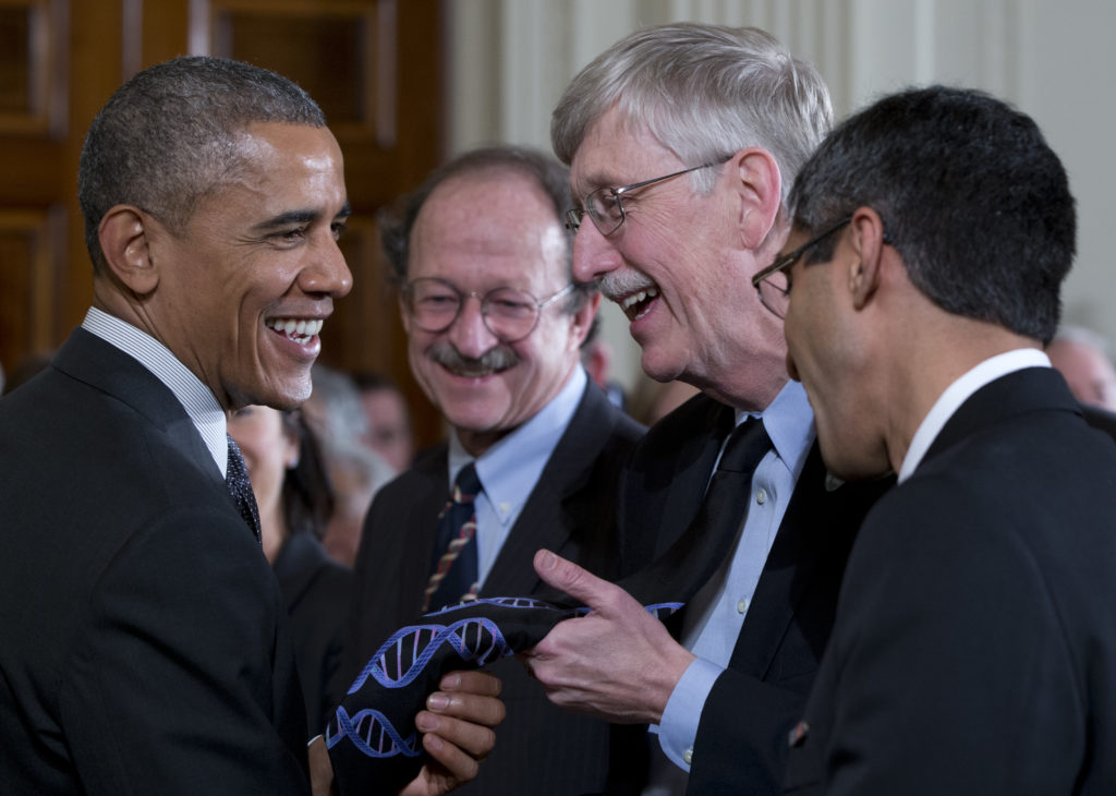 Barack Obama, Harold Varmus, Vivek Murphy, Francis Collins