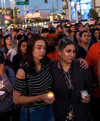 Mourners In Las Vegas Leaves