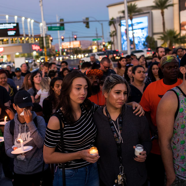 Mourners In Las Vegas Leaves