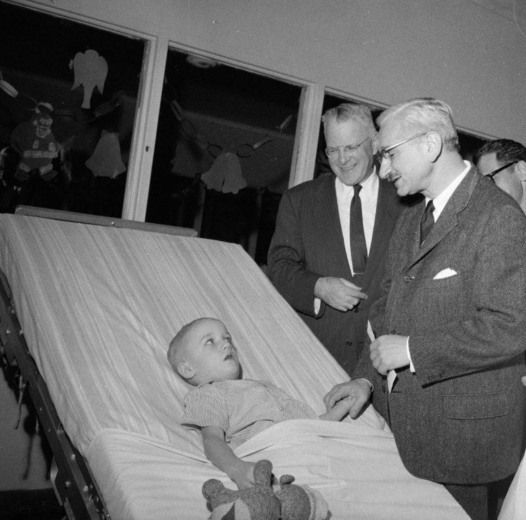 Sabin Visits Polio Victim 1959
