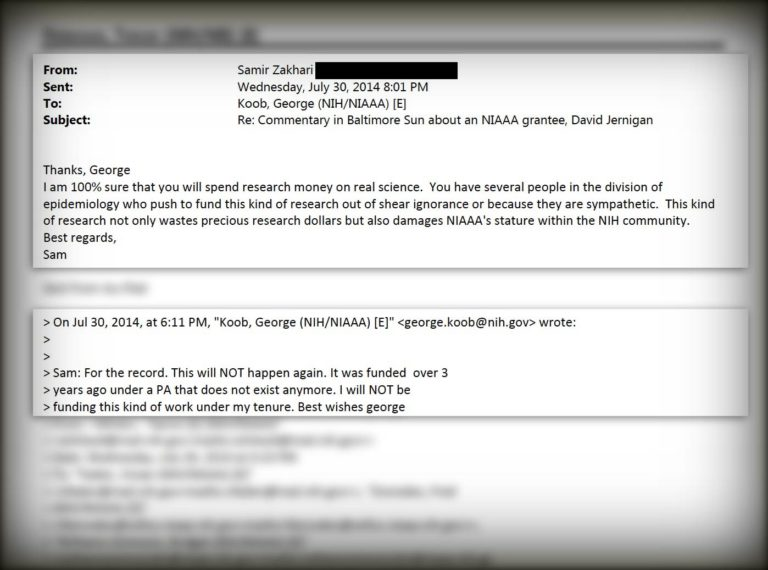 Emails for alcohol story