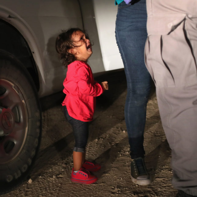 A 2 Year Old Girl From Honduras Whose Mother Was Seeking Asylum In The U.S.  Cries As Her Mother Is Searched And Detained Near The U.S. Mexico Border In  ...
