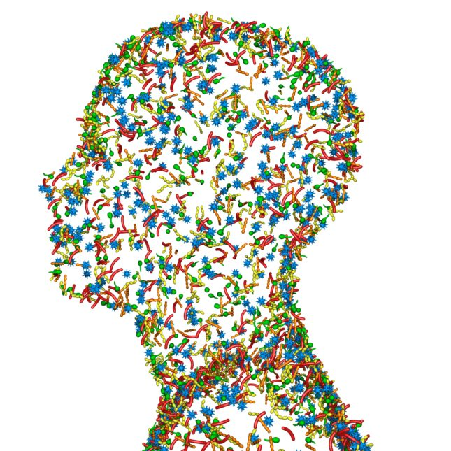 An illustration of a human head created out of bacteria.