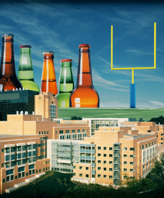 An illustration of the NIH building surrounded by alcohol bottles and a football field.
