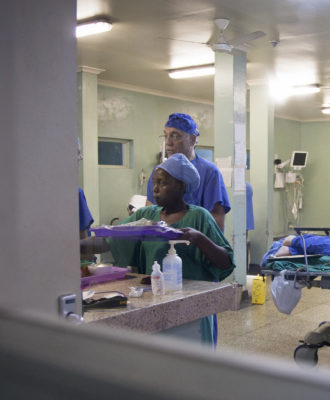 A photo of a neurosurgery team at the Mulago National Referral Hospital