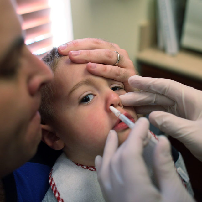 Nasal flu spray vaccine