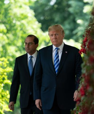 Donald Trump and Alex Azar in the Rose Garden