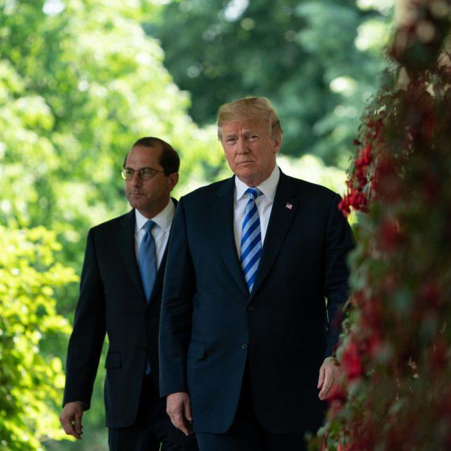 Donald Trump and Alex Azar in the Rose Garden
