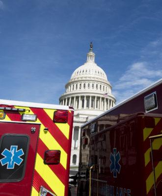 U.S. Capitol and ambulances