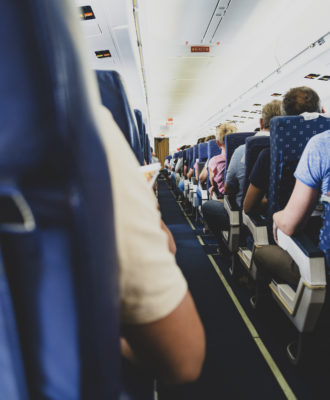 Passengers in the cabin of the aircraft
