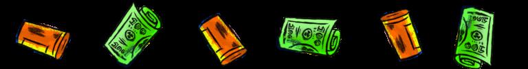 Pill bottles and money