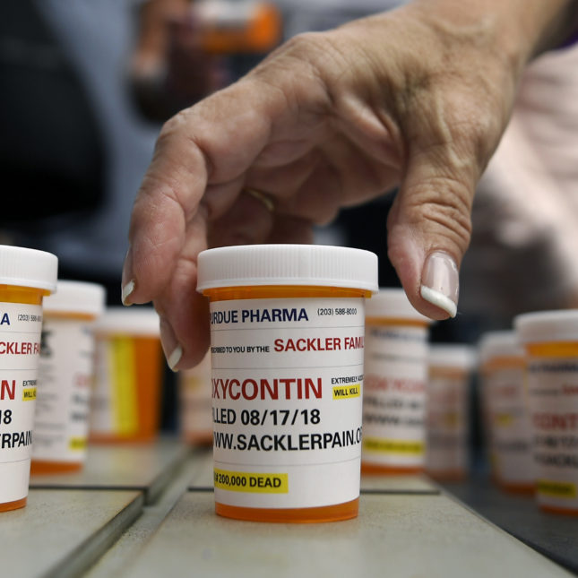 Oxycontin protest - pill bottles