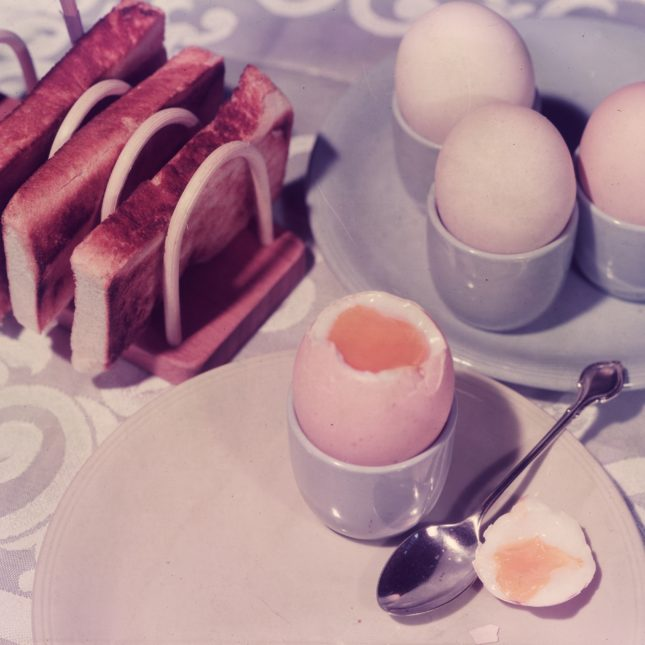 Vintage eggs and toast