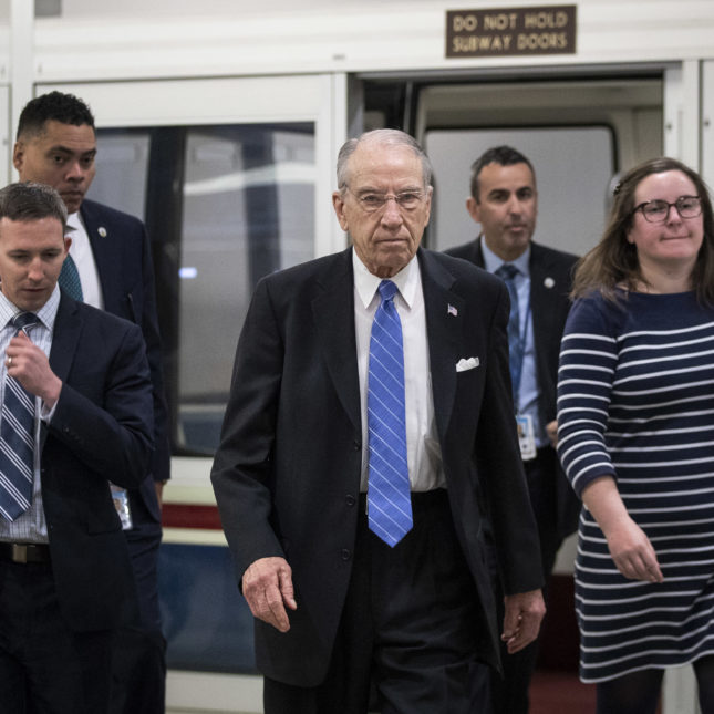 Chuck Grassley (R-IA) walks to a vote