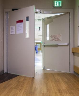Hospital corridor doors