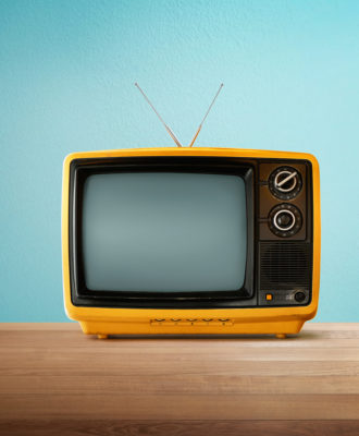 TV yellow and blue