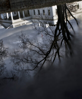 White house in reflection