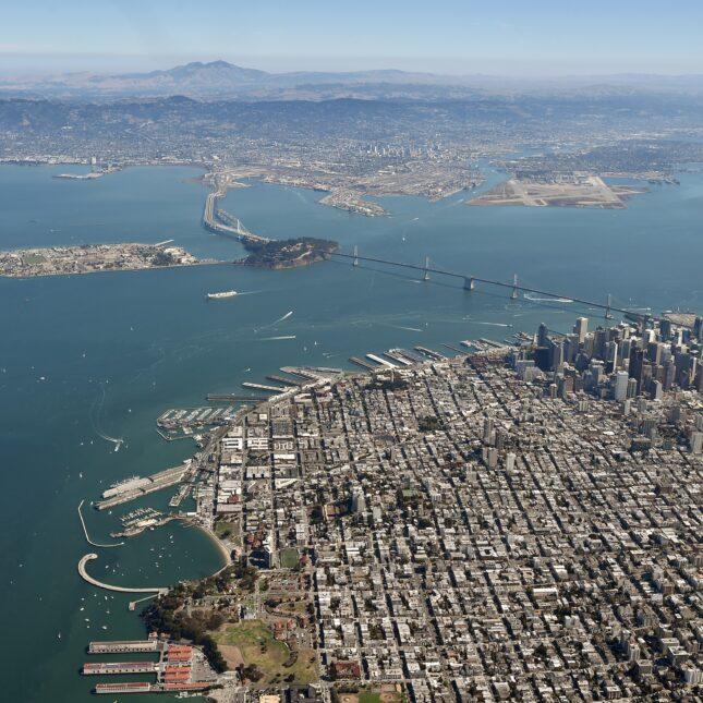 Wide aerial San Fran