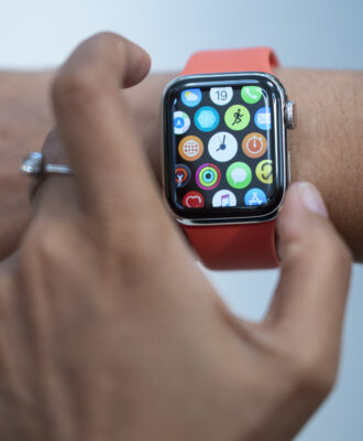 Apple watch with red band
