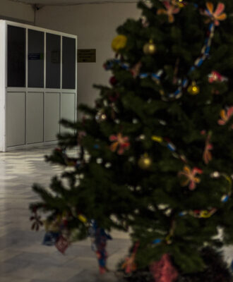 Hospital with Christmas tree